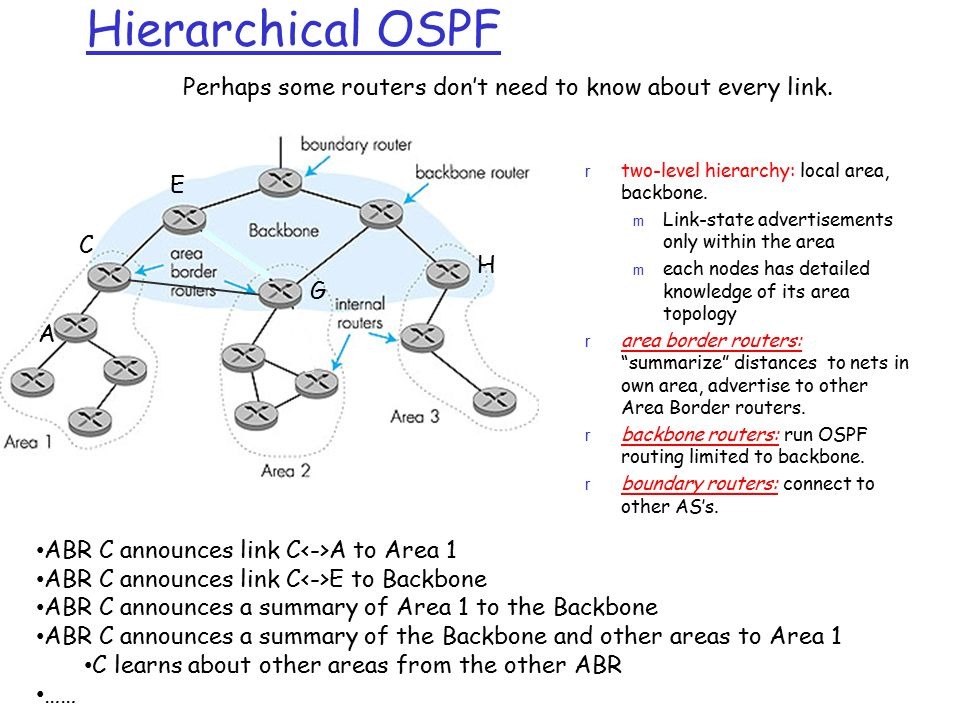 Hierarchical OSPF Perhaps some routers don't need to know about every link. two-level hierarchy: local area, backbone.