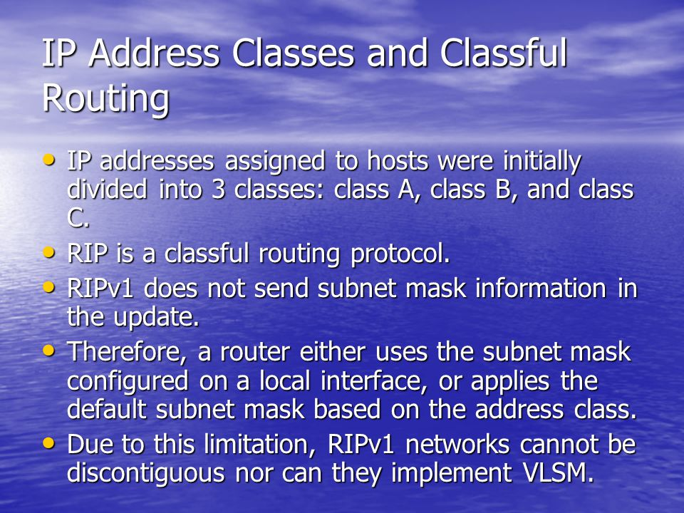 IP Address Classes and Classful Routing