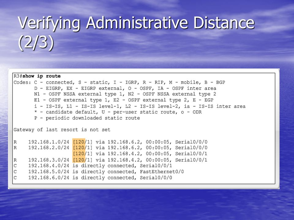 Verifying Administrative Distance (2/3)