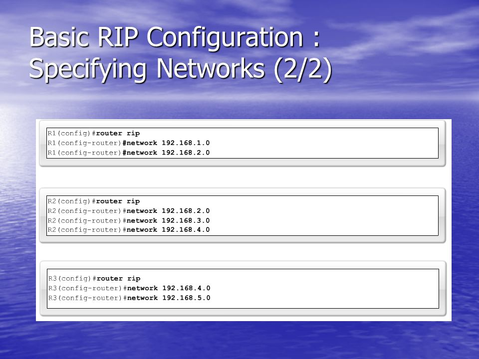 Basic RIP Configuration : Specifying Networks (2/2)