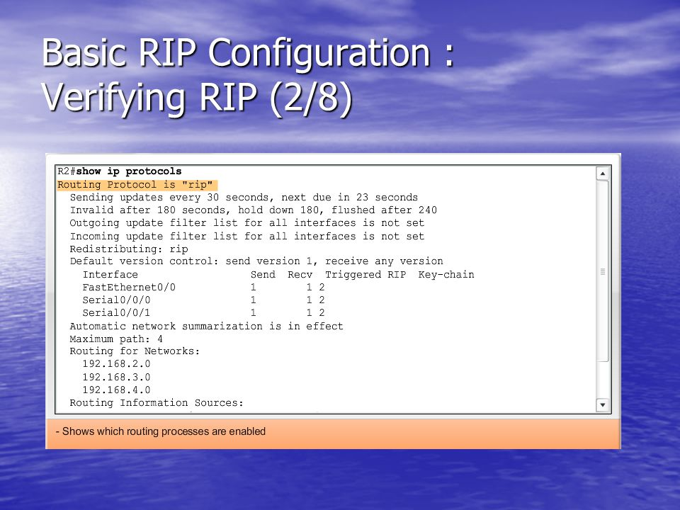 Basic RIP Configuration : Verifying RIP (2/8)