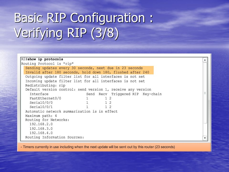 Basic RIP Configuration : Verifying RIP (3/8)