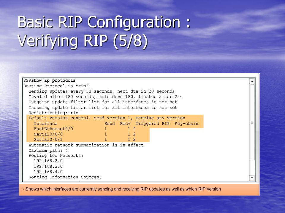 Basic RIP Configuration : Verifying RIP (5/8)