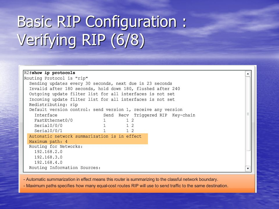 Basic RIP Configuration : Verifying RIP (6/8)