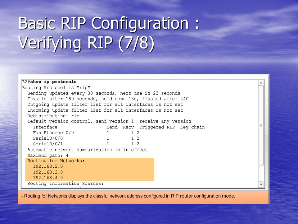 Basic RIP Configuration : Verifying RIP (7/8)