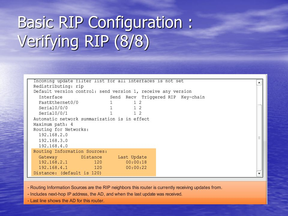 Basic RIP Configuration : Verifying RIP (8/8)
