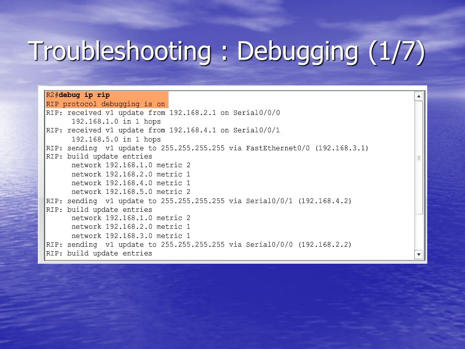 Troubleshooting : Debugging (1/7)