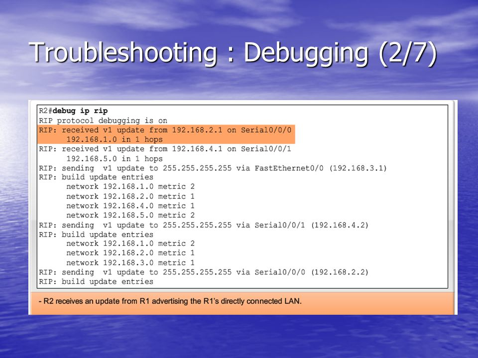 Troubleshooting : Debugging (2/7)