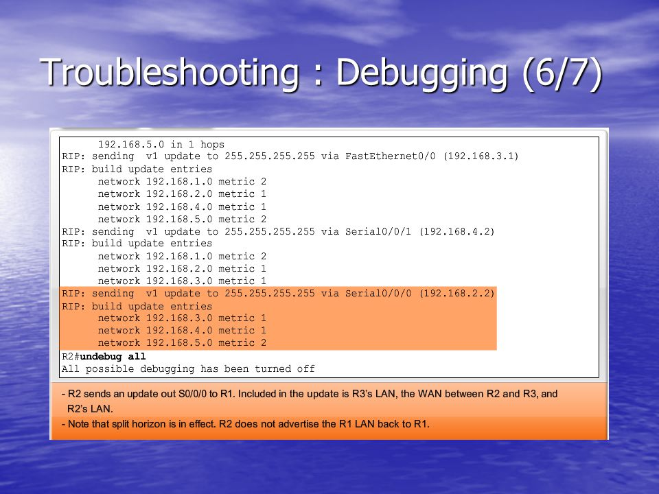 Troubleshooting : Debugging (6/7)