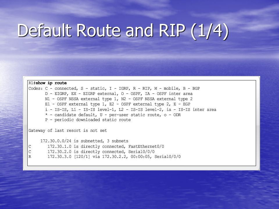 Default Route and RIP (1/4)