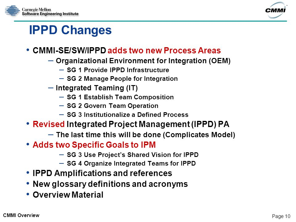 IPPD Changes CMMI-SE/SW/IPPD adds two new Process Areas