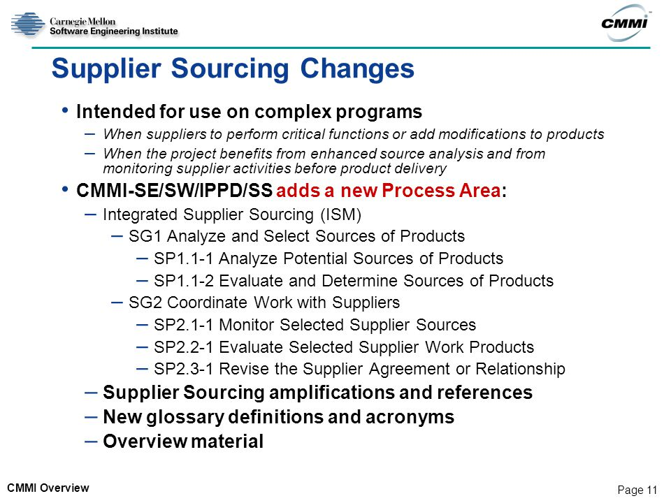 Supplier Sourcing Changes