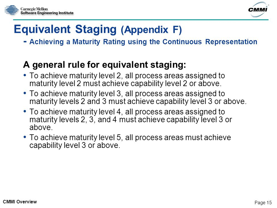 Equivalent Staging (Appendix F) - Achieving a Maturity Rating using the Continuous Representation