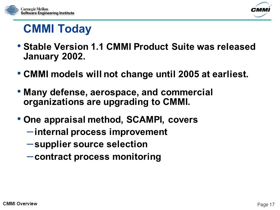 CMMI Today Stable Version 1.1 CMMI Product Suite was released January 2002. CMMI models will not change until 2005 at earliest.
