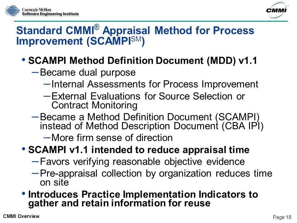Standard CMMI® Appraisal Method for Process Improvement (SCAMPISM)
