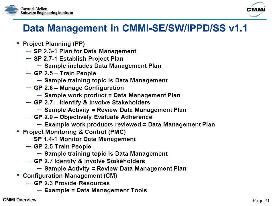Data Management in CMMI-SE/SW/IPPD/SS v1.1