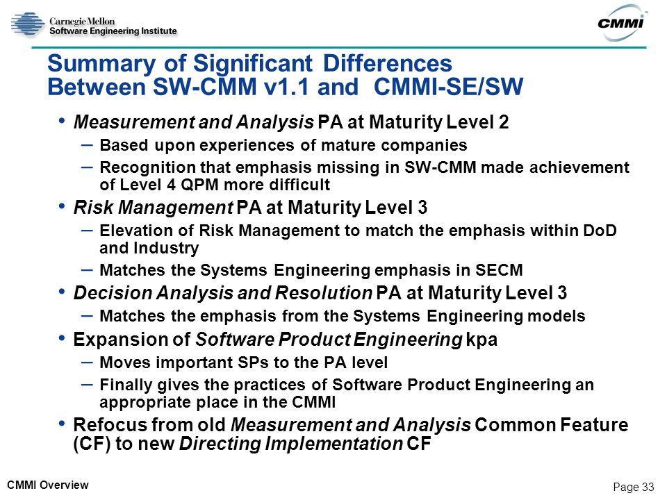 Summary of Significant Differences Between SW-CMM v1.1 and CMMI-SE/SW