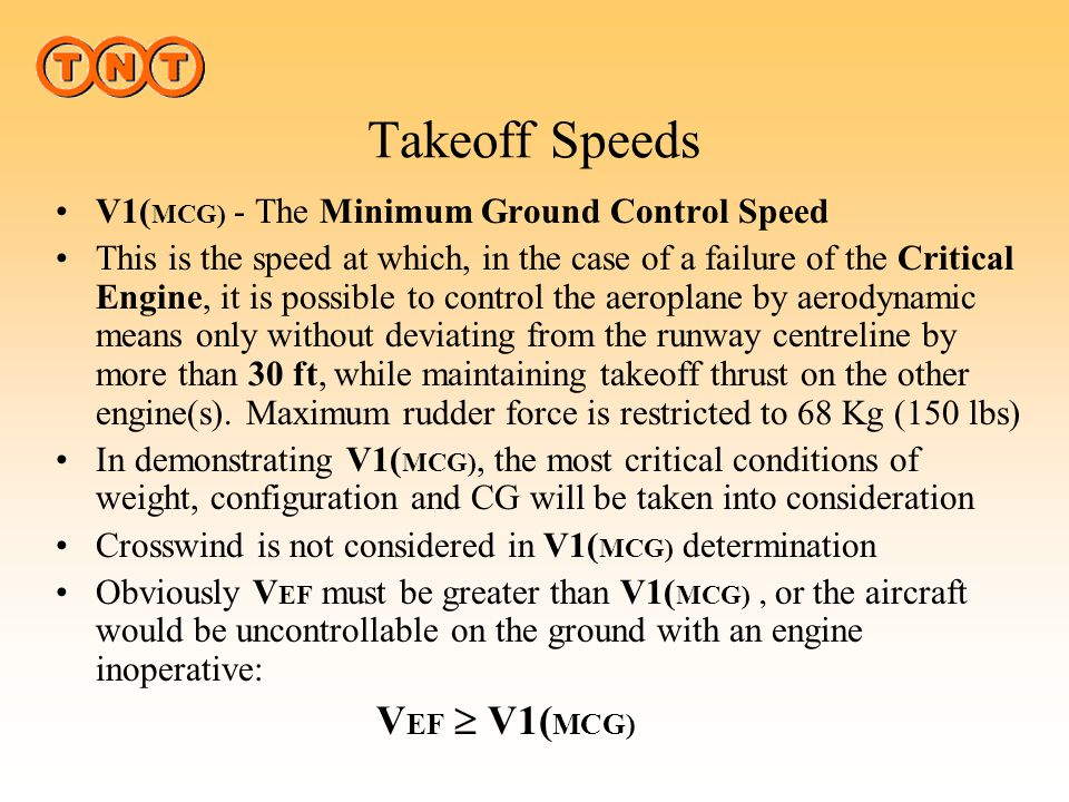 Takeoff Speeds V1(MCG) - The Minimum Ground Control Speed