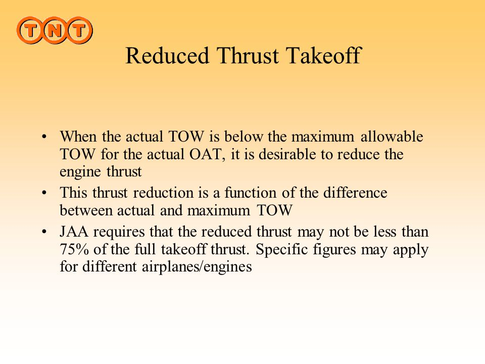 Reduced Thrust Takeoff