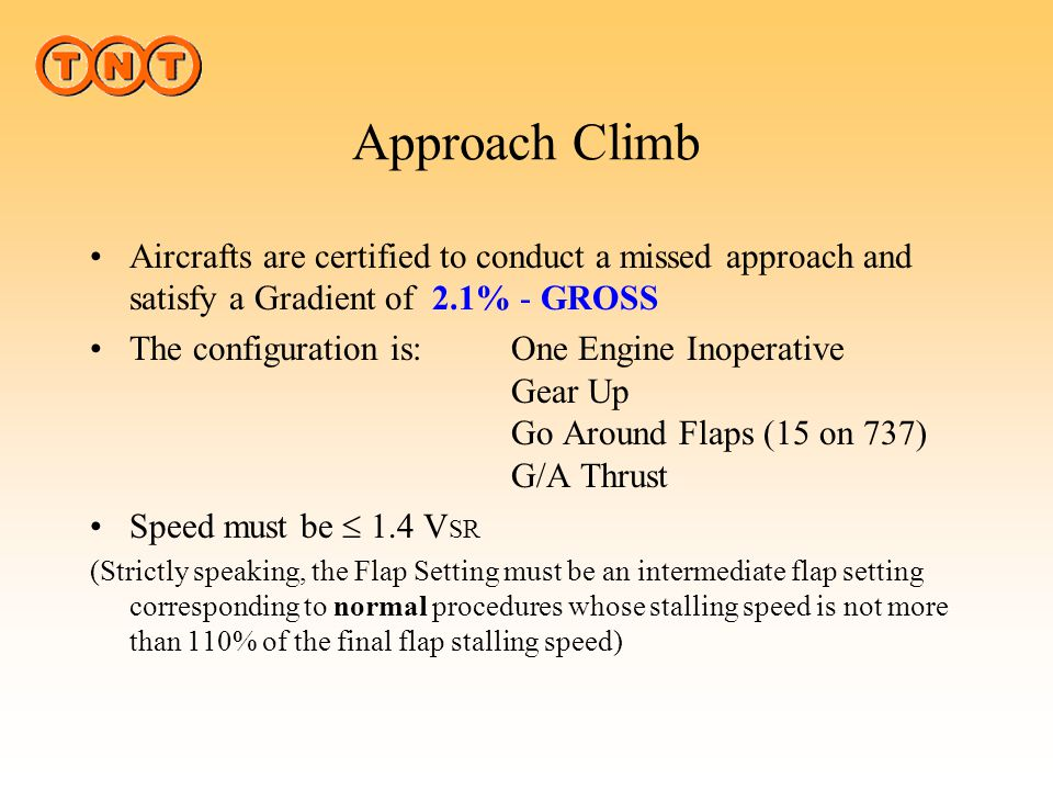 Approach Climb Aircrafts are certified to conduct a missed approach and satisfy a Gradient of 2.1% - GROSS.
