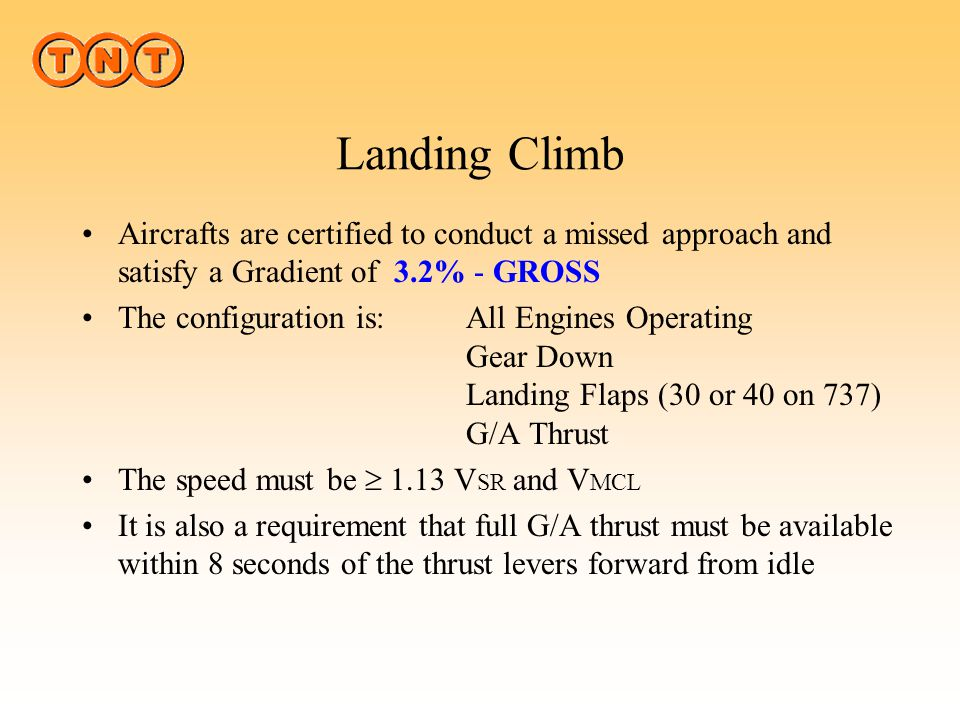 Landing Climb Aircrafts are certified to conduct a missed approach and satisfy a Gradient of 3.2% - GROSS.