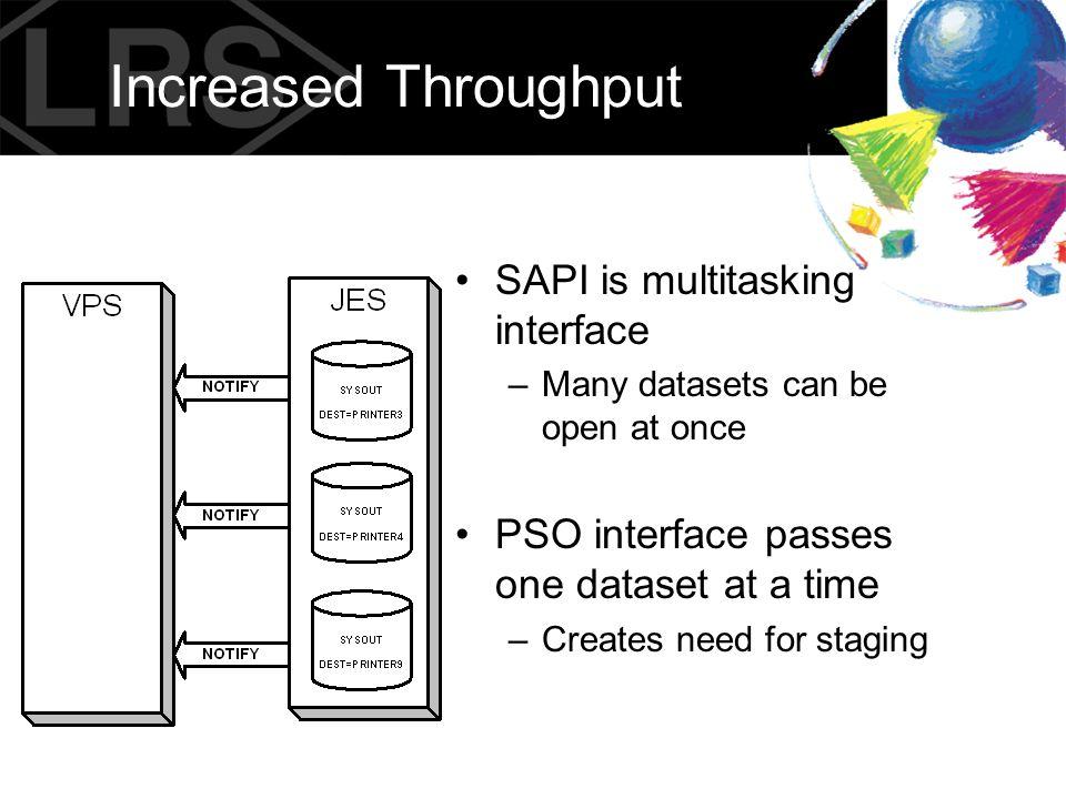 Increased Throughput SAPI is multitasking interface