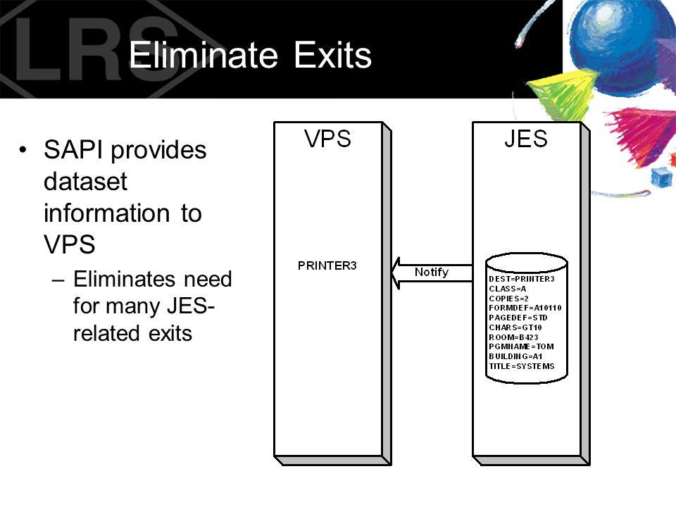 Eliminate Exits SAPI provides dataset information to VPS