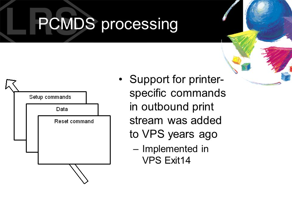 PCMDS processing Support for printer-specific commands in outbound print stream was added to VPS years ago.