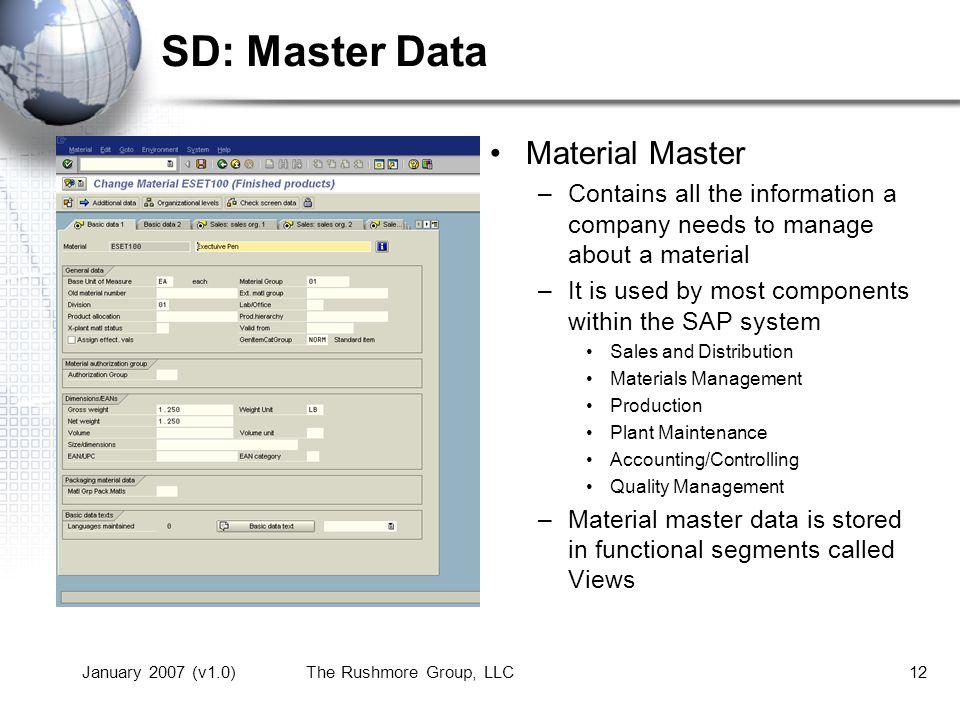 SD: Master Data Material Master