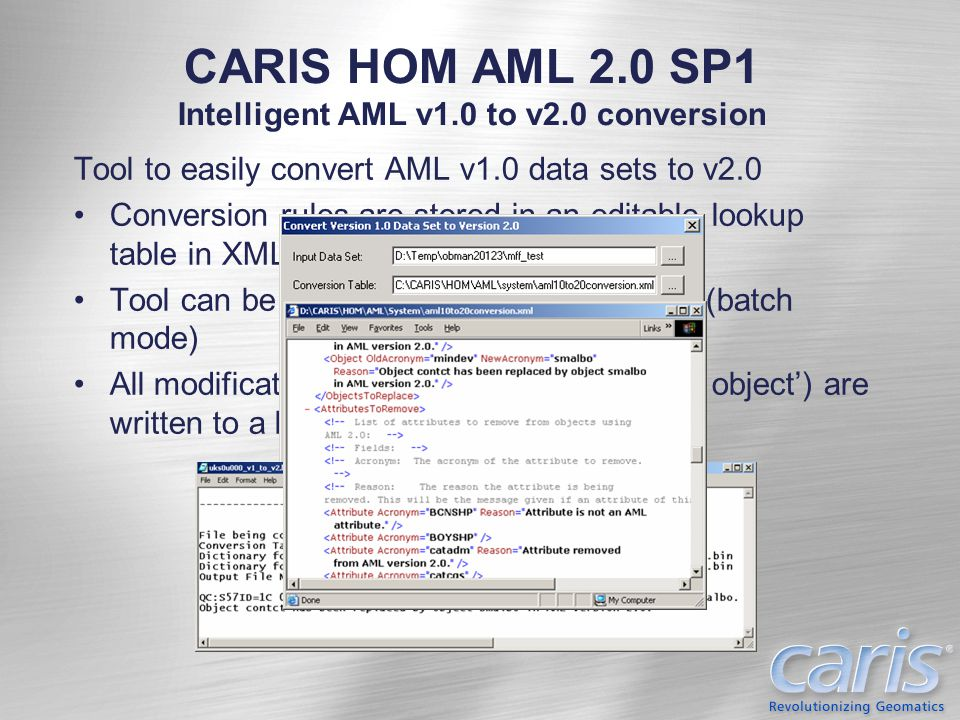 CARIS HOM AML 2.0 SP1 Intelligent AML v1.0 to v2.0 conversion