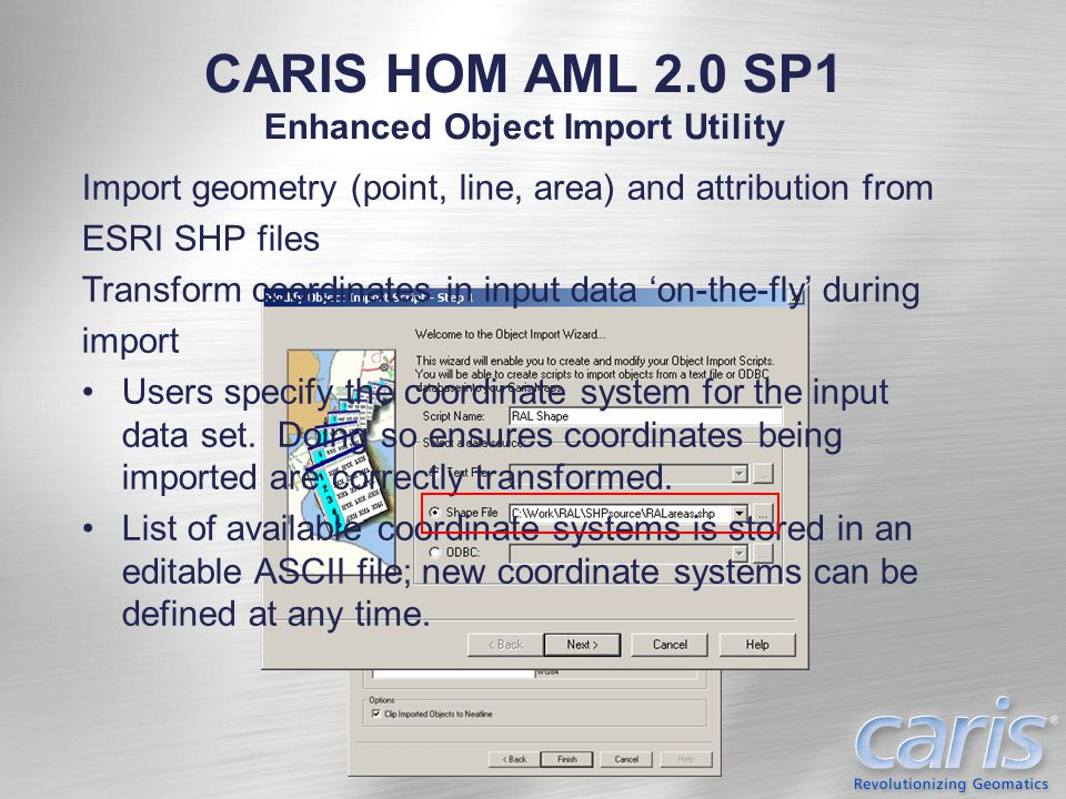 CARIS HOM AML 2.0 SP1 Enhanced Object Import Utility