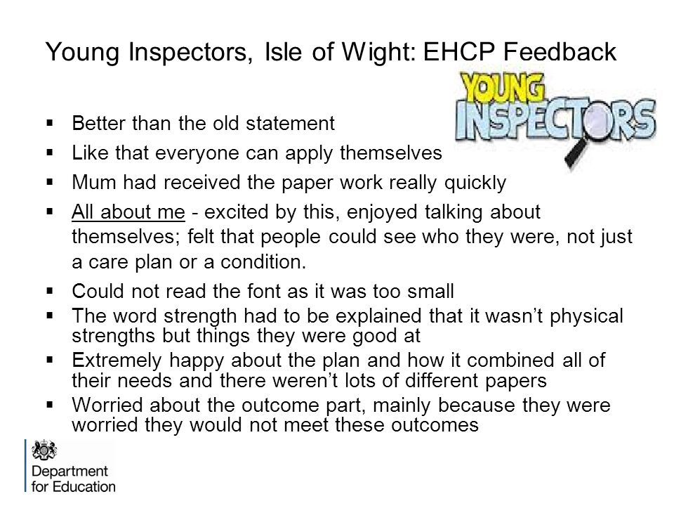 Young Inspectors, Isle of Wight: EHCP Feedback