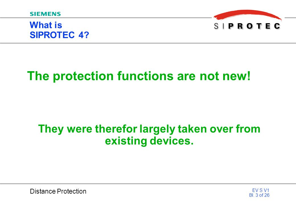 The protection functions are not new!
