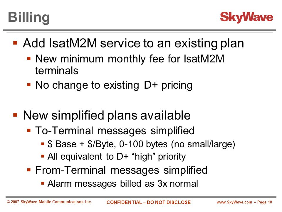 Billing Add IsatM2M service to an existing plan
