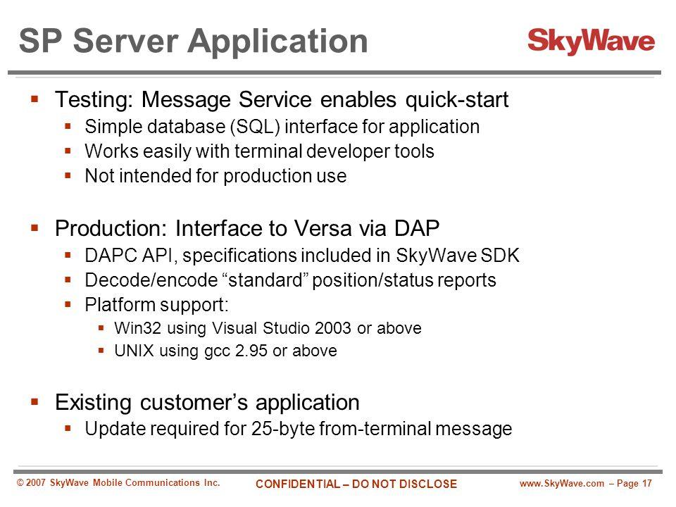 SP Server Application Testing: Message Service enables quick-start