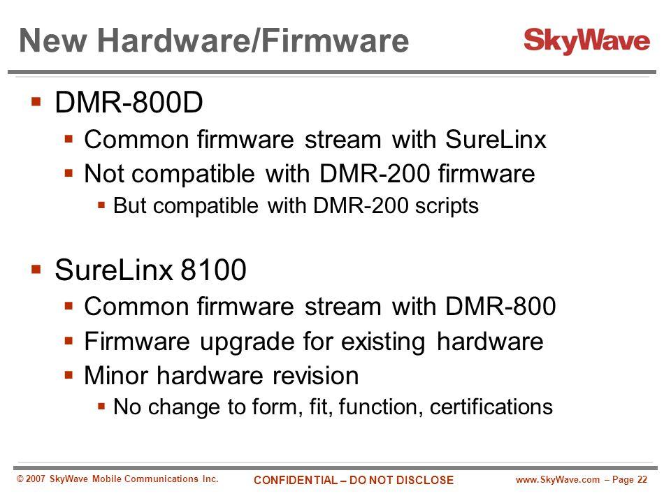 New Hardware/Firmware