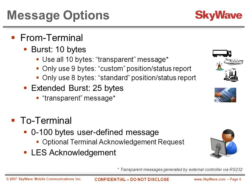 Message Options From-Terminal To-Terminal Burst: 10 bytes
