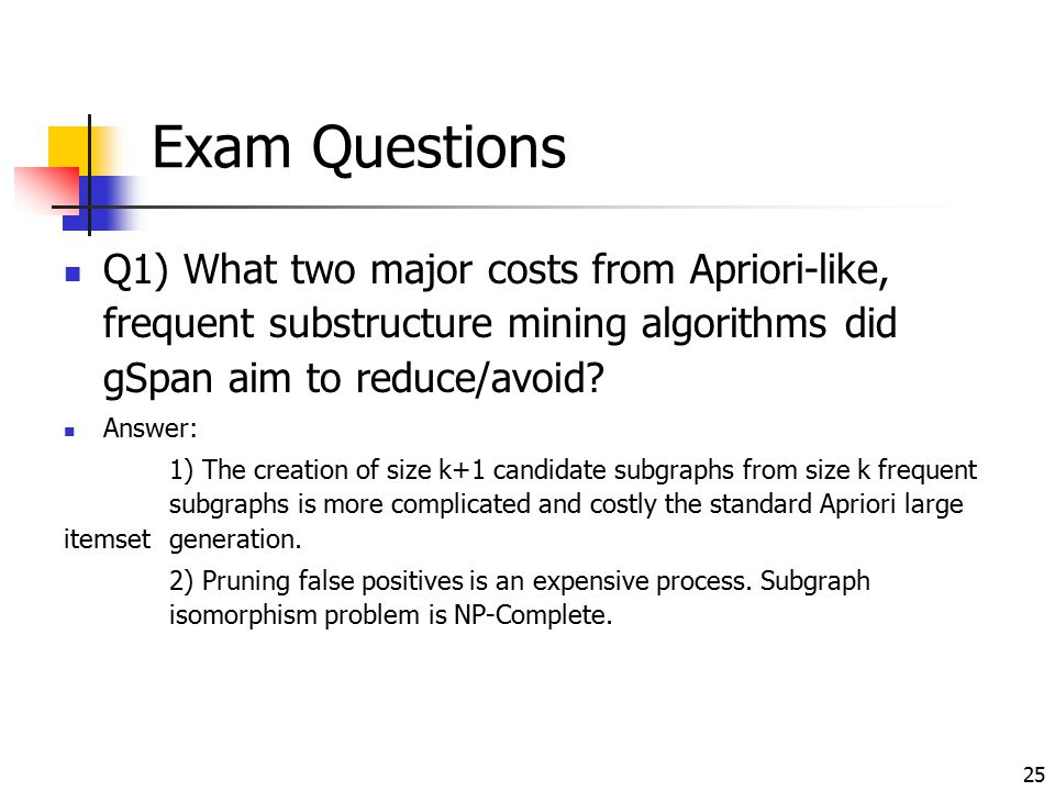 Exam Questions Q1) What two major costs from Apriori-like, frequent substructure mining algorithms did gSpan aim to reduce/avoid