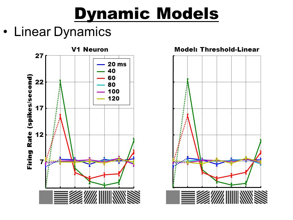 Dynamic Models Linear Dynamics Firing Rate (spikes/second) V1 Neuron