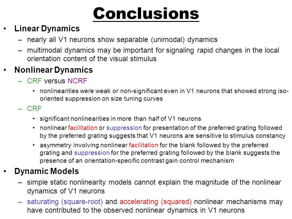 Conclusions Linear Dynamics Nonlinear Dynamics Dynamic Models