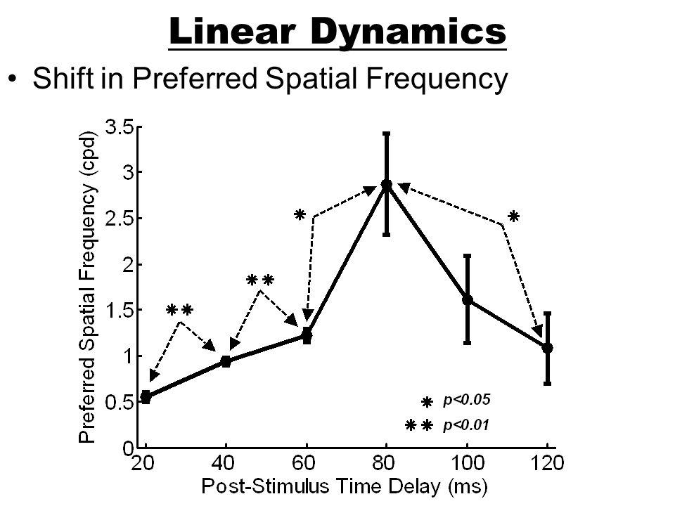 Linear Dynamics Shift in Preferred Spatial Frequency