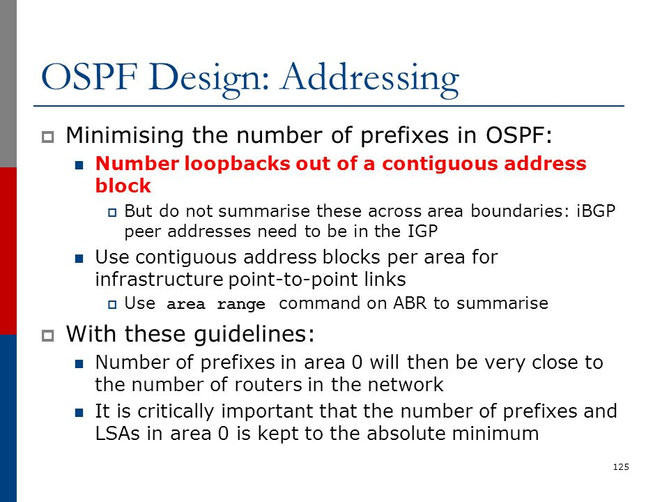 OSPF Design: Addressing