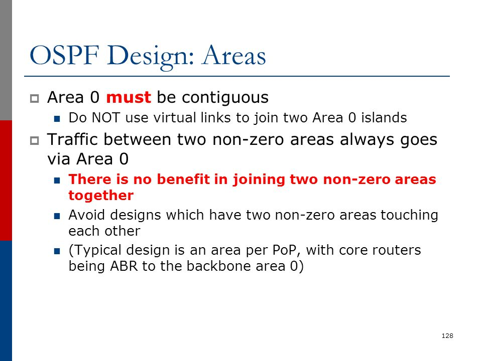 OSPF Design: Areas Area 0 must be contiguous
