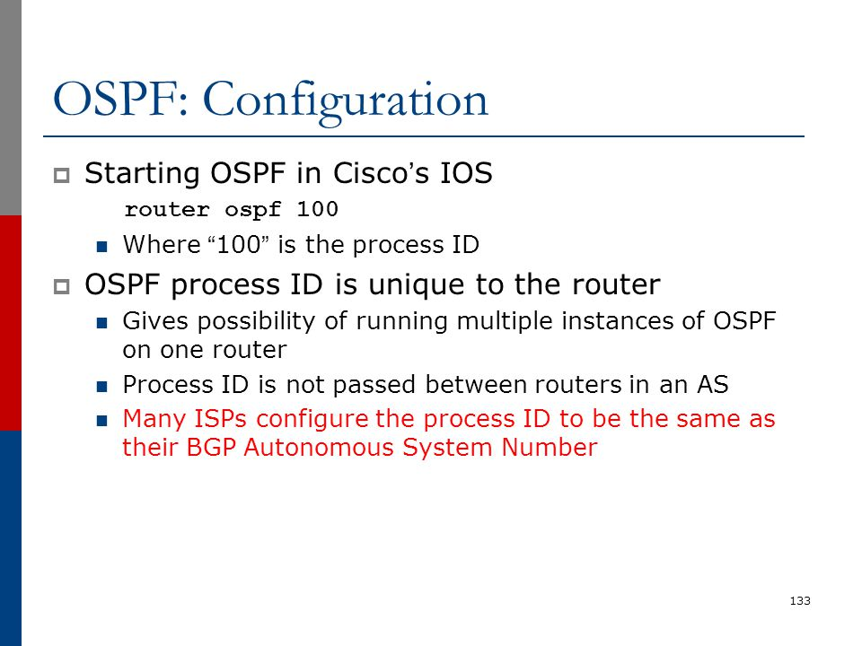 OSPF: Configuration Starting OSPF in Cisco's IOS