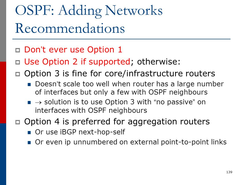 OSPF: Adding Networks Recommendations