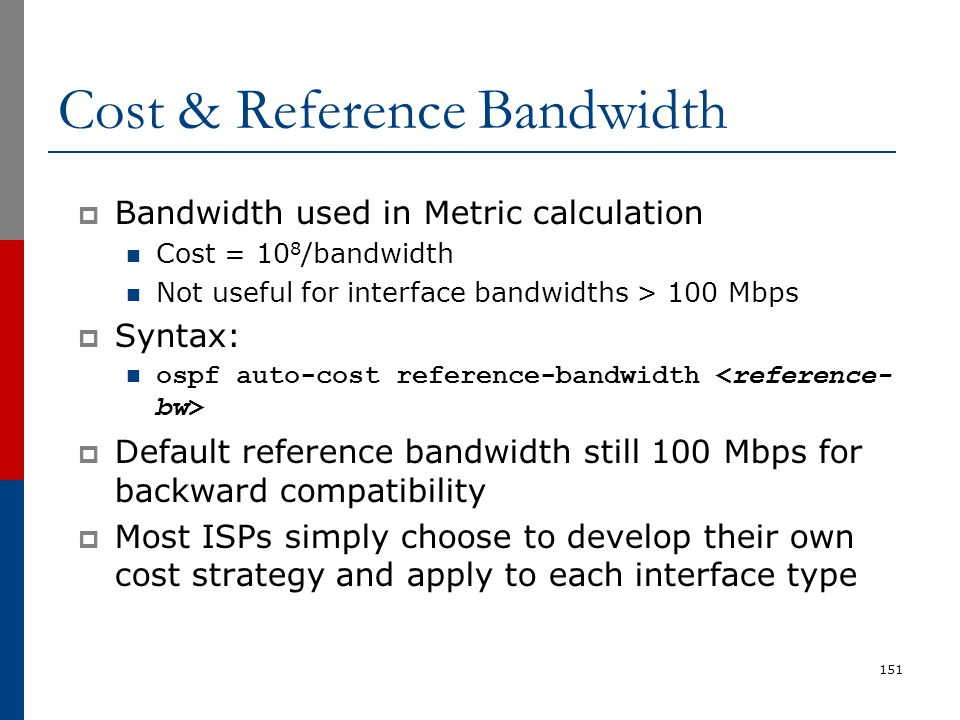 Cost & Reference Bandwidth