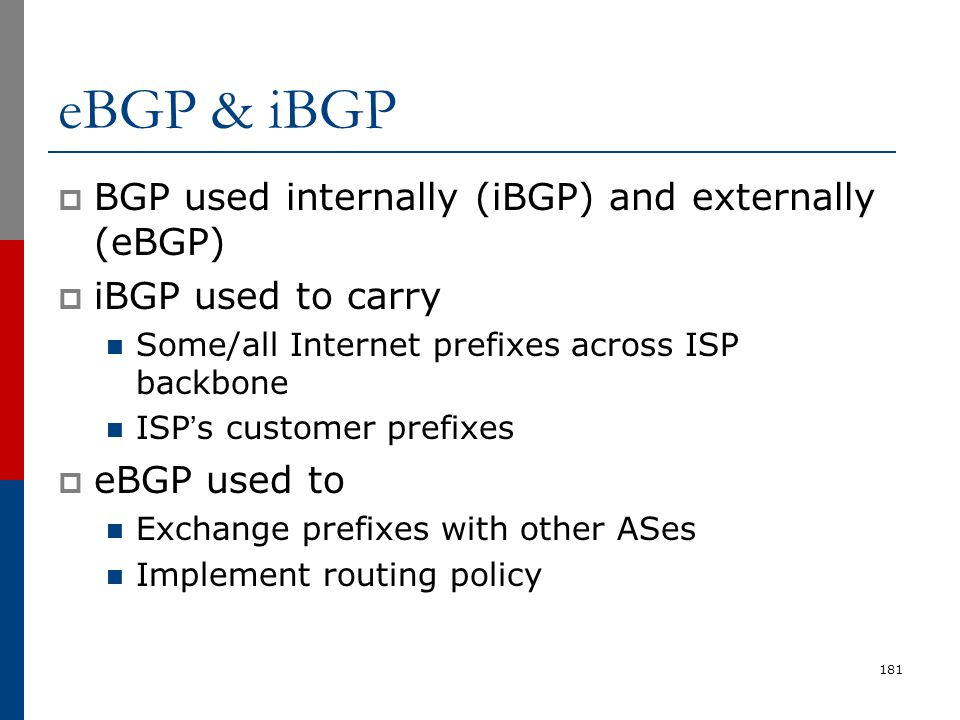eBGP & iBGP BGP used internally (iBGP) and externally (eBGP)