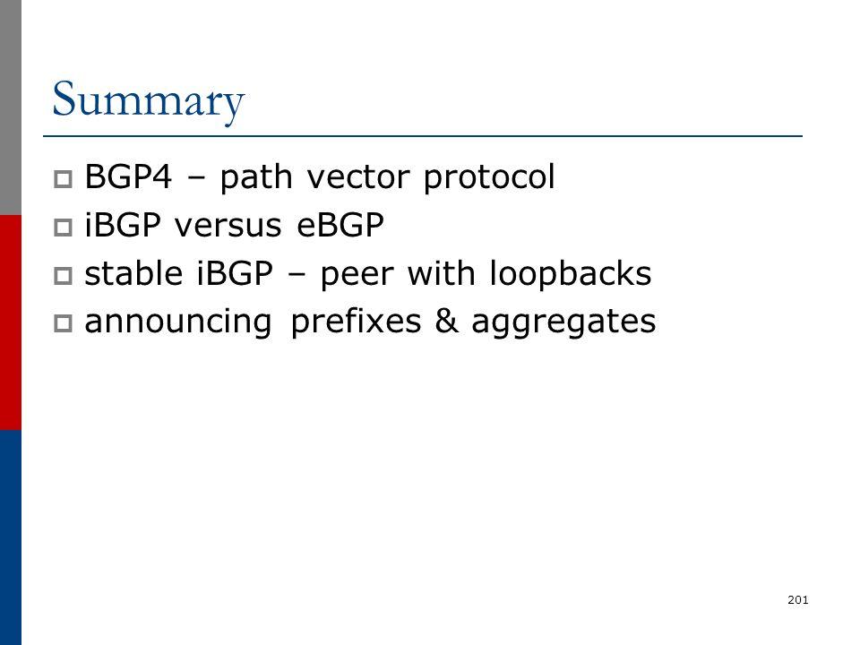 Summary BGP4 – path vector protocol iBGP versus eBGP