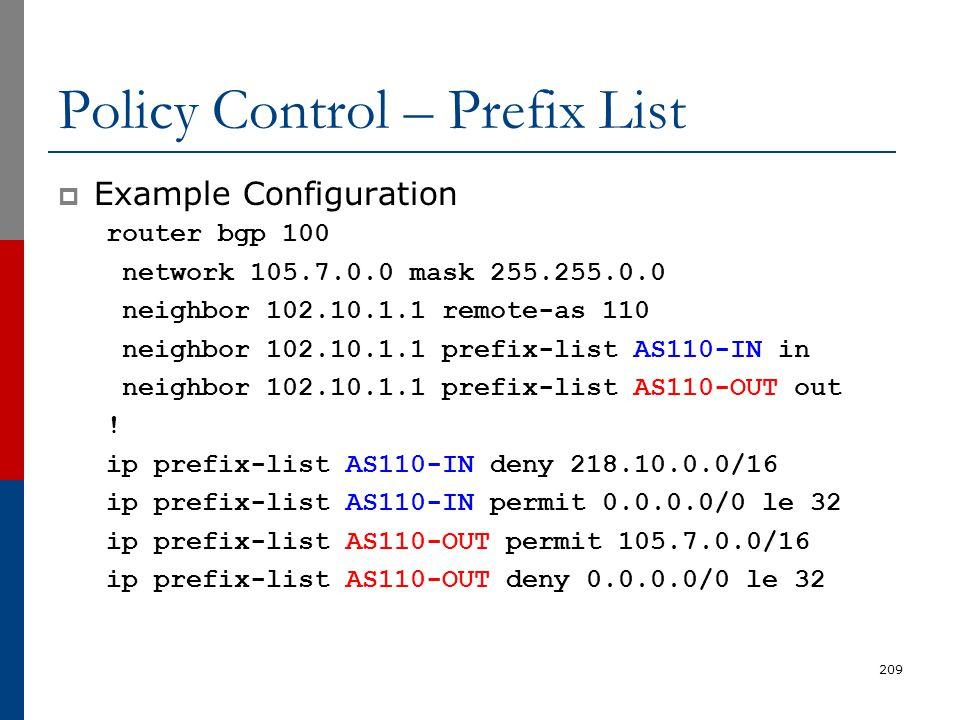 Policy Control – Prefix List