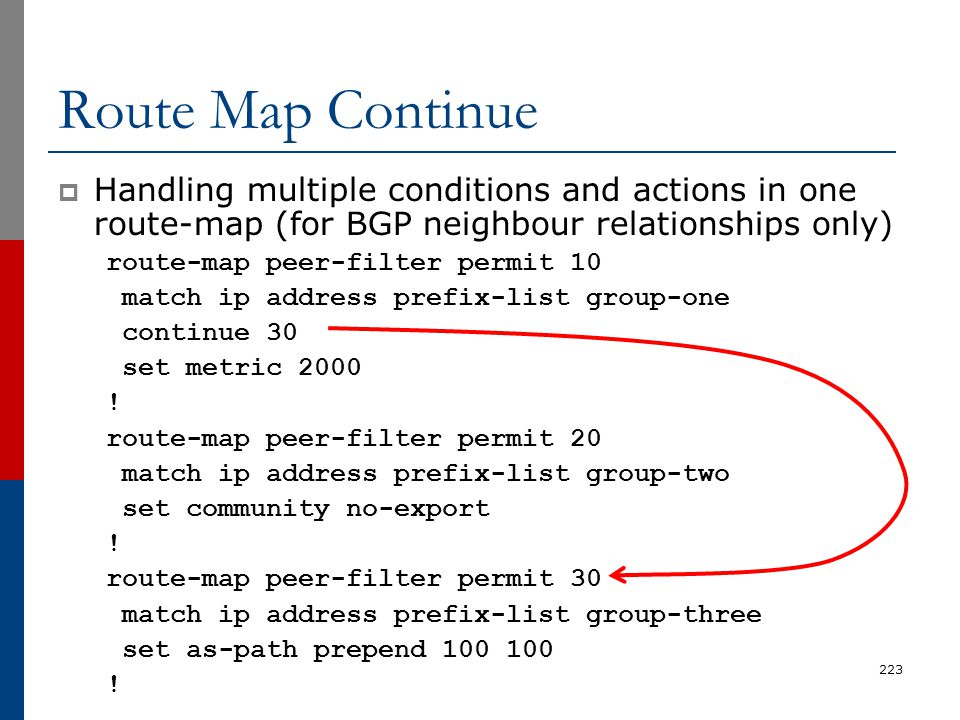 Route Map Continue Handling multiple conditions and actions in one route-map (for BGP neighbour relationships only)